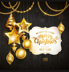merry christmas gold vector image