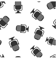 Microphone icon seamless pattern background mic vector