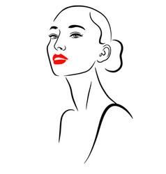 minimalist beauty portrait woman with long neck vector image