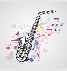 music notes and saxophone vector image