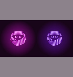 Neon mummy face in purple and violet color vector