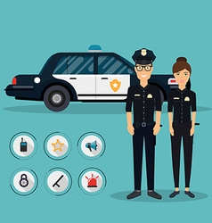 Officer characters with police car vehicle in flat vector