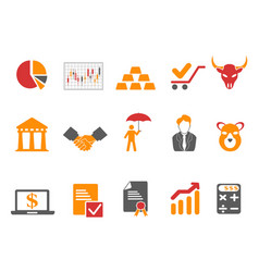 Orange and red color stock exchange icons set vector