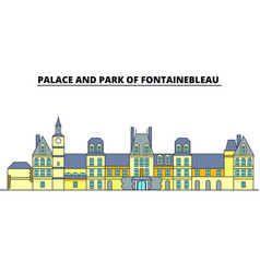 palace and park of fontainebleau line trave vector image