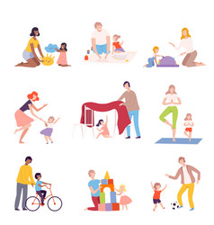 parents and kids spending time together at home vector image