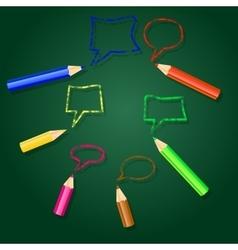 Pencils and speech bubbles vector image