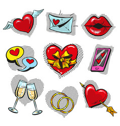 Pop art fashionable love badges set vector
