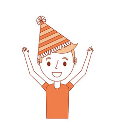 Portrait happy young boy with party hat arms up vector