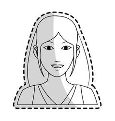 Pretty young woman icon image black line vector