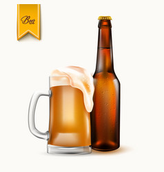 Realistic beer bottle glass mockup 3d vector