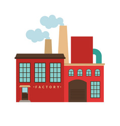 Red factory building icon vector