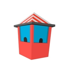 Red ticket booth cartoon icon vector image
