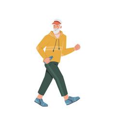 Running senior man in casual cloth mature jogging vector