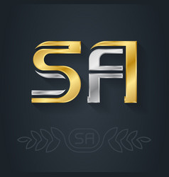 S and a initial gold and silver logo sa vector