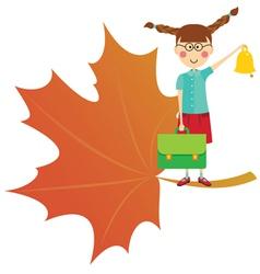 schoolgirl with bell vector image