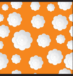 seamless flowers paper cut on the orange vector image