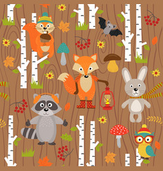 Seamless pattern with animals of forest vector