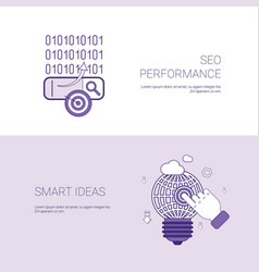 Seo performance and smart ideas marketing concept vector