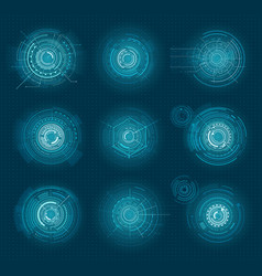 set blue infographic elements interface virtual vector image