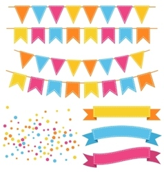 set multicolored buntings garlands flags vector image