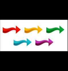 set of colored arrows pointing right new bright vector image