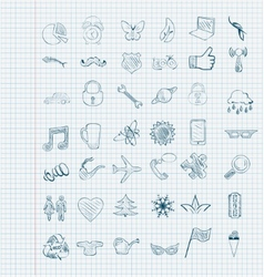 set of icons sketch vector image