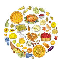 set of objects and symbols on the thanksgiving vector image