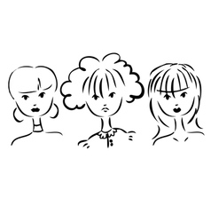 Set of portraits of women Simple drawing vector
