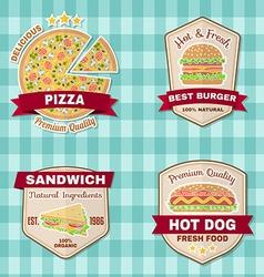 set vintage fast food badges banners and logo vector image