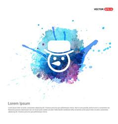 Snowman icon - watercolor background vector