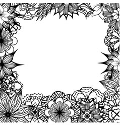 Square frame with black and white doodle flowers vector
