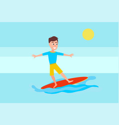 surfing sport activity and boy surfboarder surfer vector image