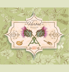 Vintage thistle banner vector