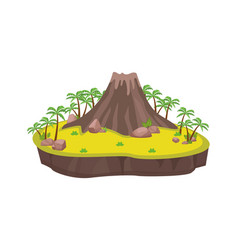 volcanic island with palm trees ancient large vector image