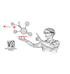 vr wireframe headset man with molecules vector image