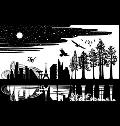 Wild forest and big modern city silhouette style vector