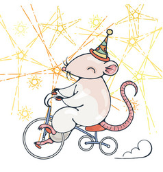 with a circus rat on a bike vector image