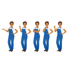 Woman in overalls set vector