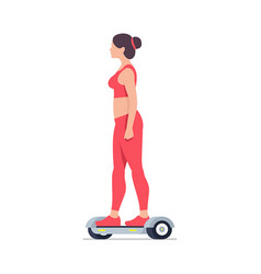 woman riding an electric hoverboard vector image