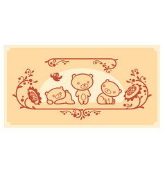 woodland animals set three teddy bears vector image