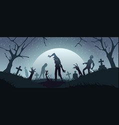 zombies on graveyard cemetery background vector image
