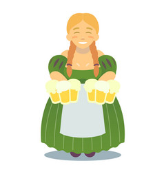 logo - cute blonde girl in traditional dress with vector image
