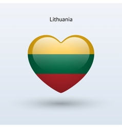 Love lithuania symbol heart flag icon vector