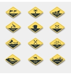 Set of signs of attention caution and danger vector
