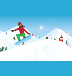 snowboarder jumping through air against blue sky vector image