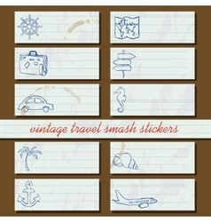 vintage travel smash stickers vector image