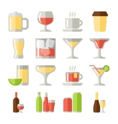 drinks flat icons set vector image