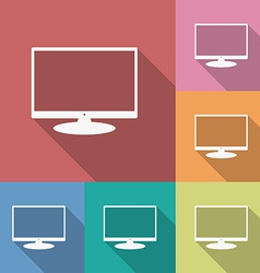 Icon of Monitor Flat style Long shadow vector image vector image