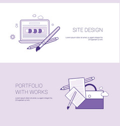 web site design and portfolio with works template vector image