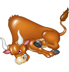 Angry bull is attacking isolated vector image